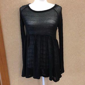 Black lightweight babydoll sweater